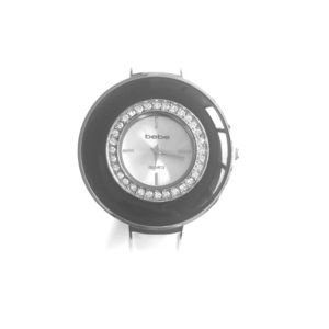 Bebe Black White Enamel Round Bangle Watch